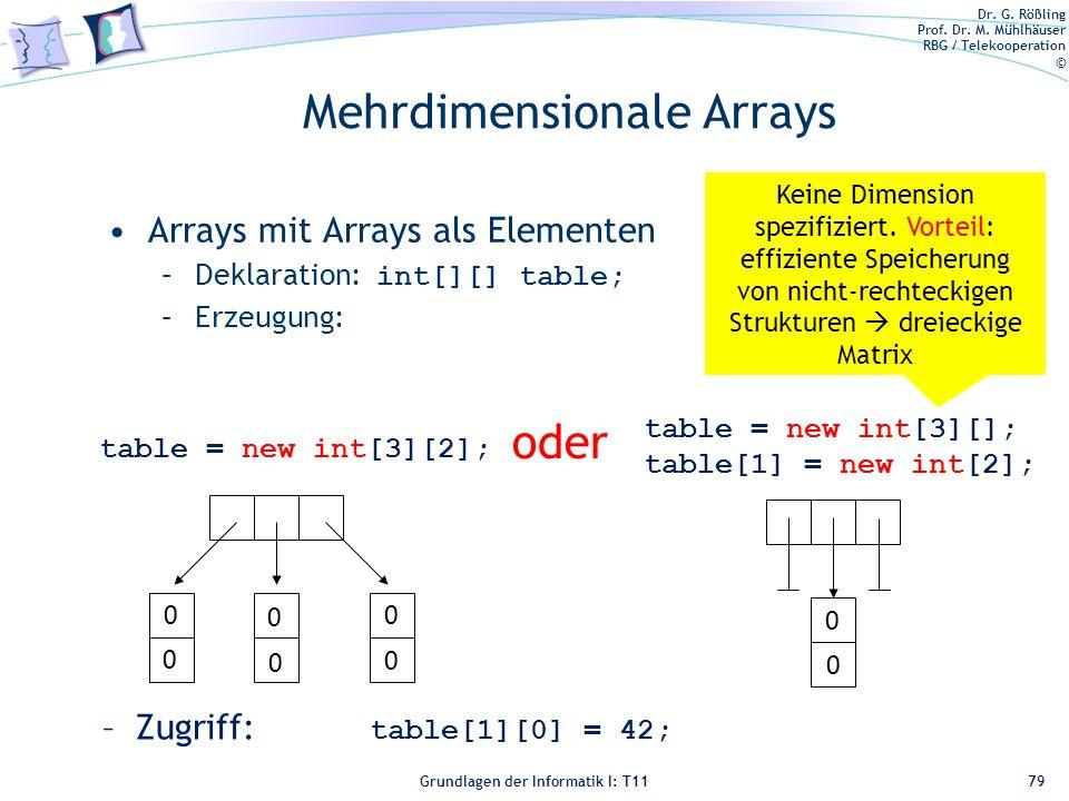Mehrdimensionale Arrays