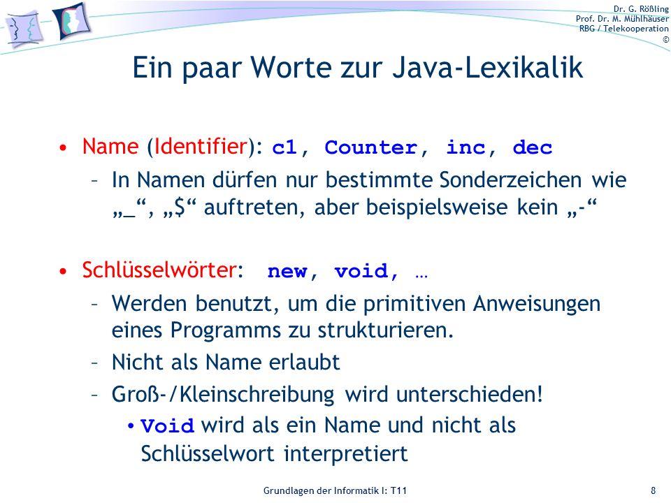 Ein paar Worte zur Java-Lexikalik