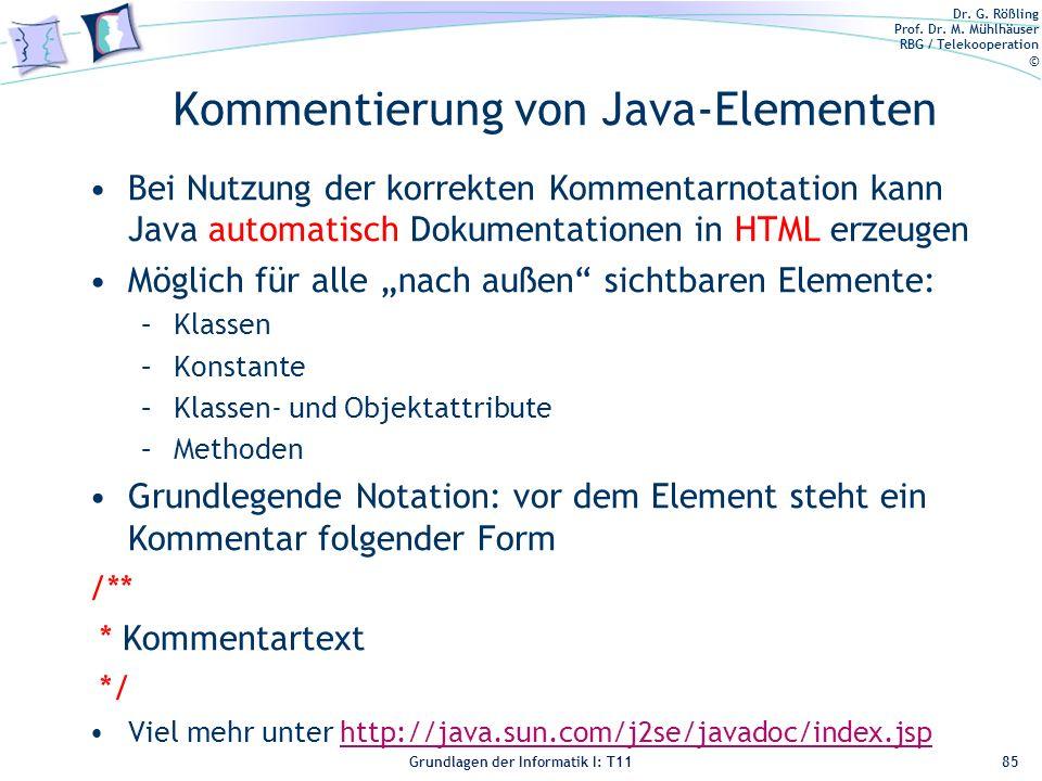 Kommentierung von Java-Elementen