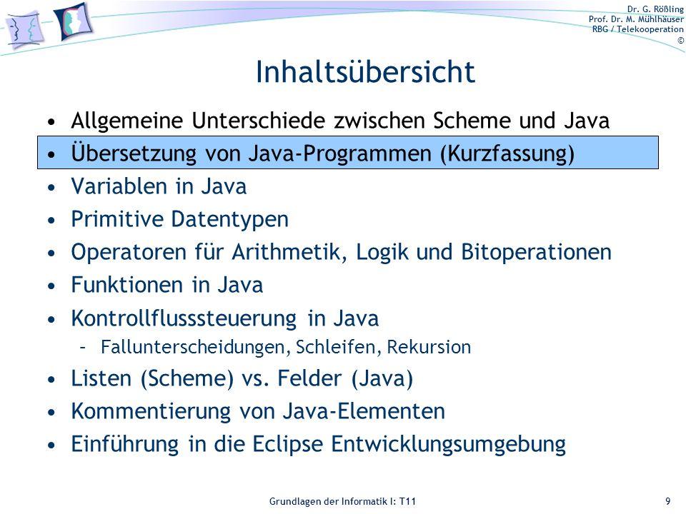 Inhaltsübersicht Allgemeine Unterschiede zwischen Scheme und Java