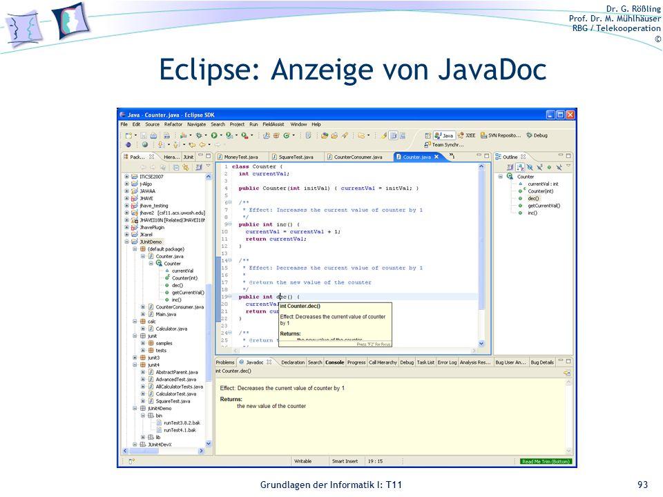 Eclipse: Anzeige von JavaDoc