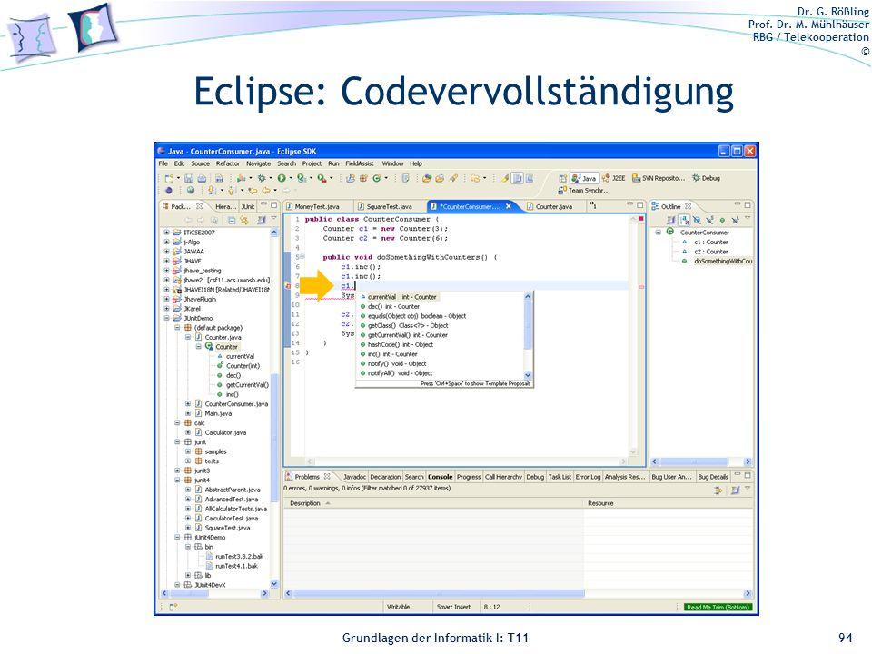 Eclipse: Codevervollständigung