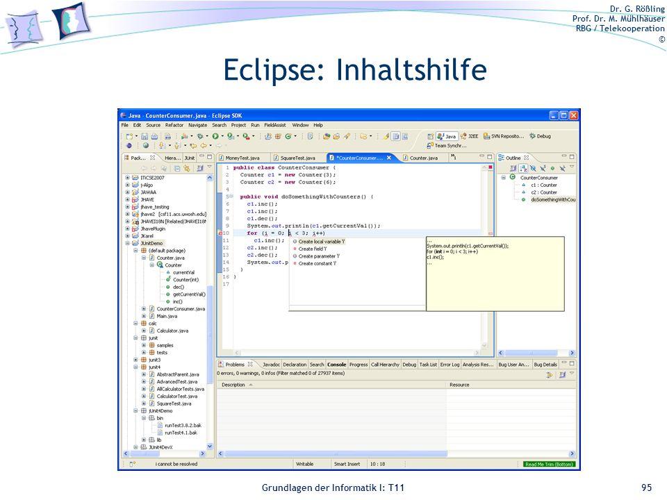 Eclipse: Inhaltshilfe