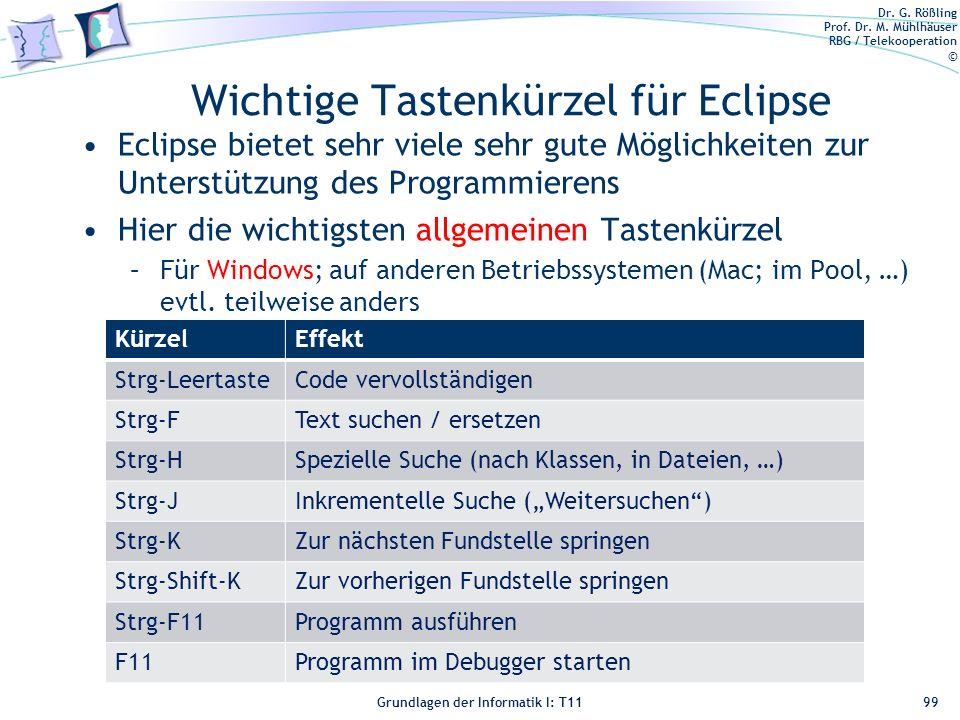 Wichtige Tastenkürzel für Eclipse