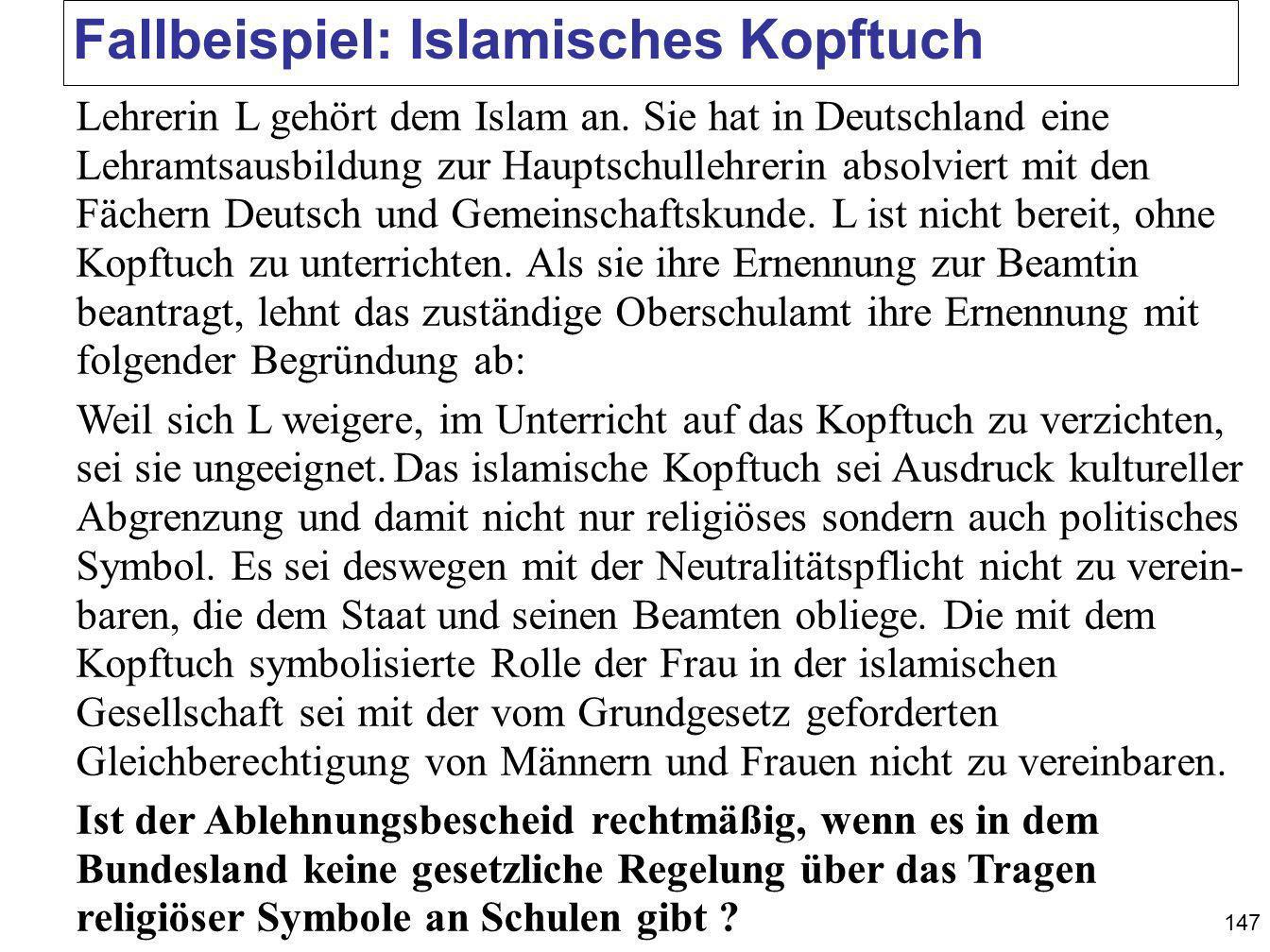 Fallbeispiel: Islamisches Kopftuch