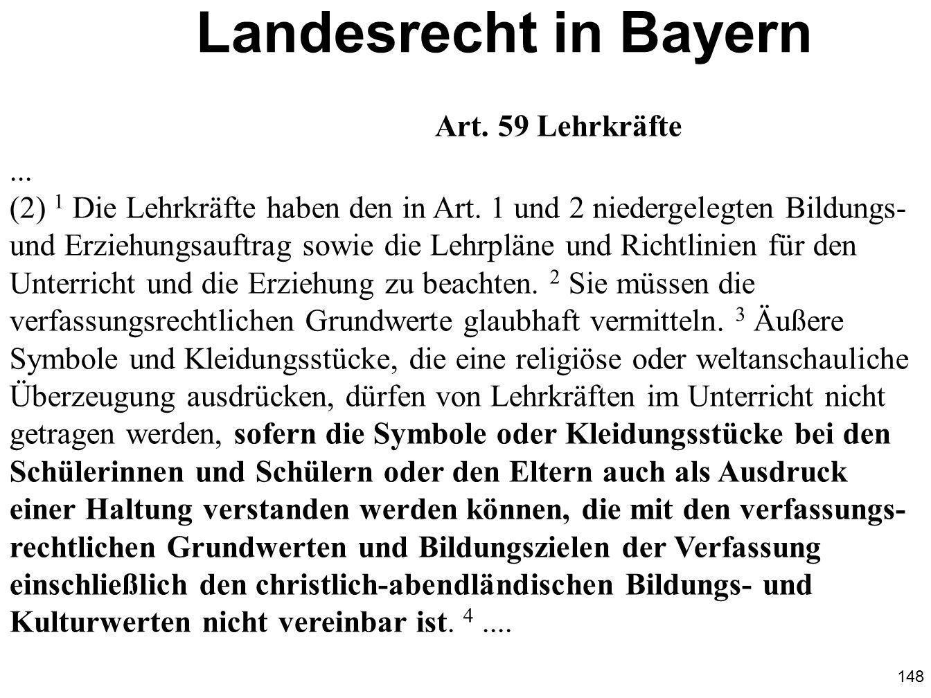 Landesrecht in Bayern Art. 59 Lehrkräfte ...