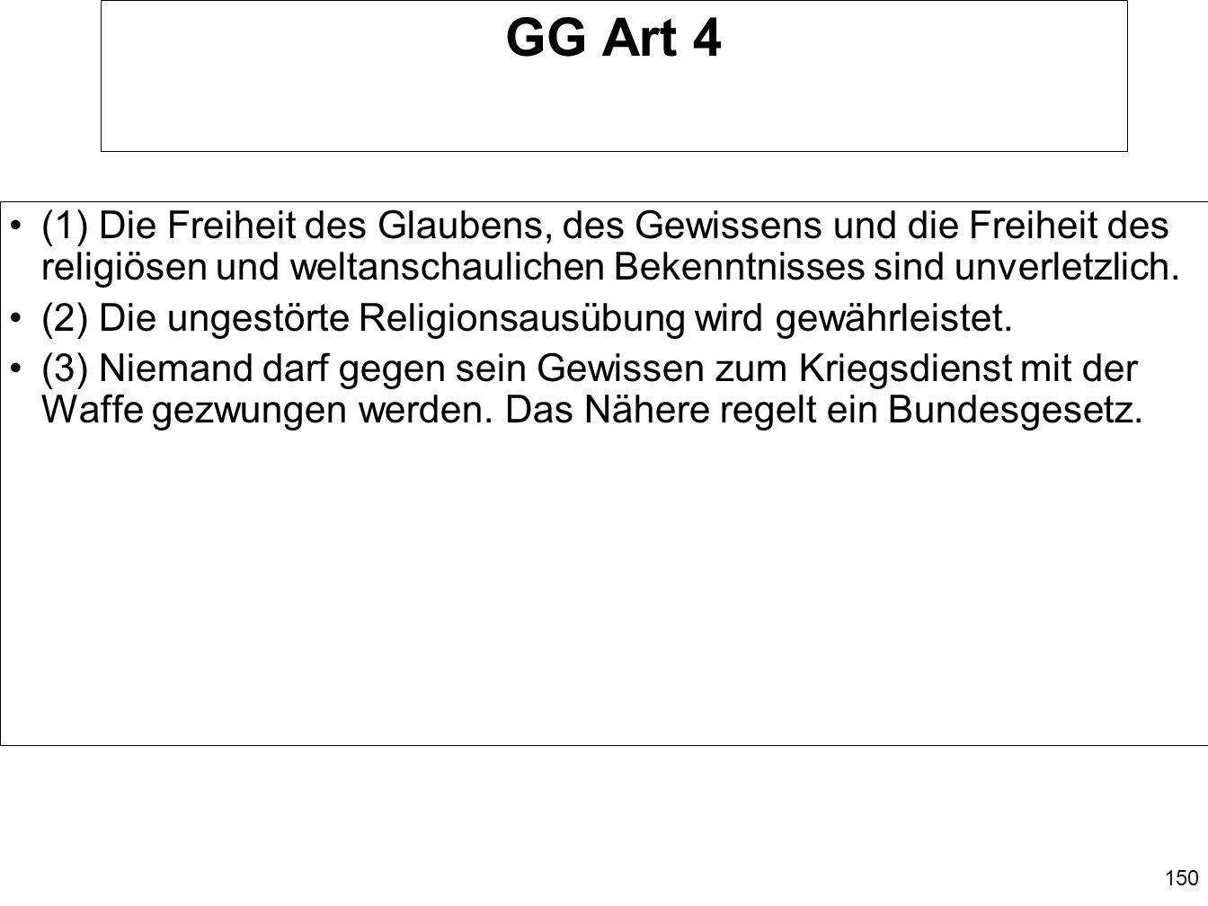 GG Art 4 (1) Die Freiheit des Glaubens, des Gewissens und die Freiheit des religiösen und weltanschaulichen Bekenntnisses sind unverletzlich.