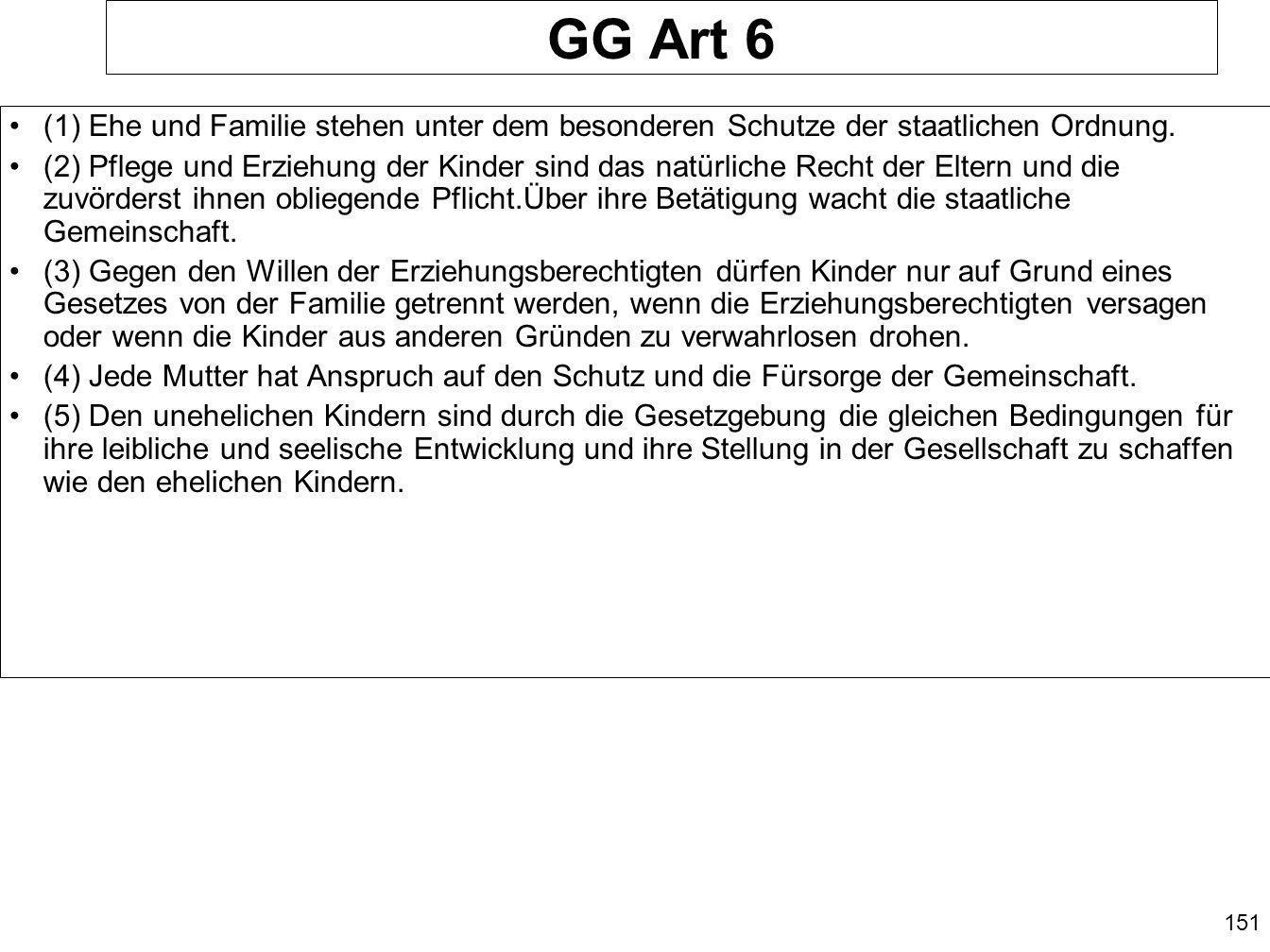GG Art 6 (1) Ehe und Familie stehen unter dem besonderen Schutze der staatlichen Ordnung.