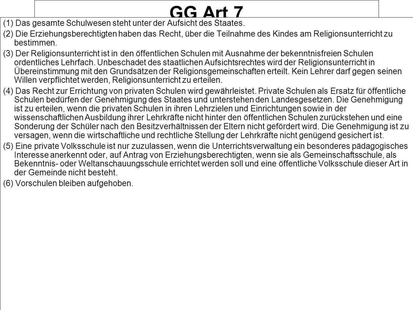 GG Art 7 (1) Das gesamte Schulwesen steht unter der Aufsicht des Staates.