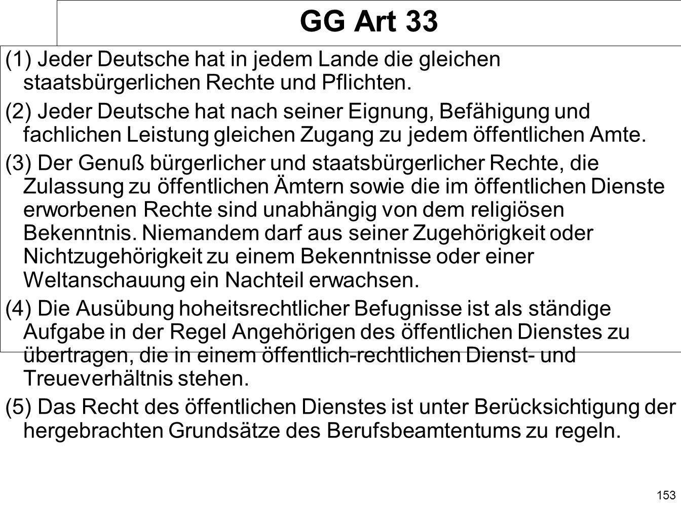 GG Art 33 (1) Jeder Deutsche hat in jedem Lande die gleichen staatsbürgerlichen Rechte und Pflichten.