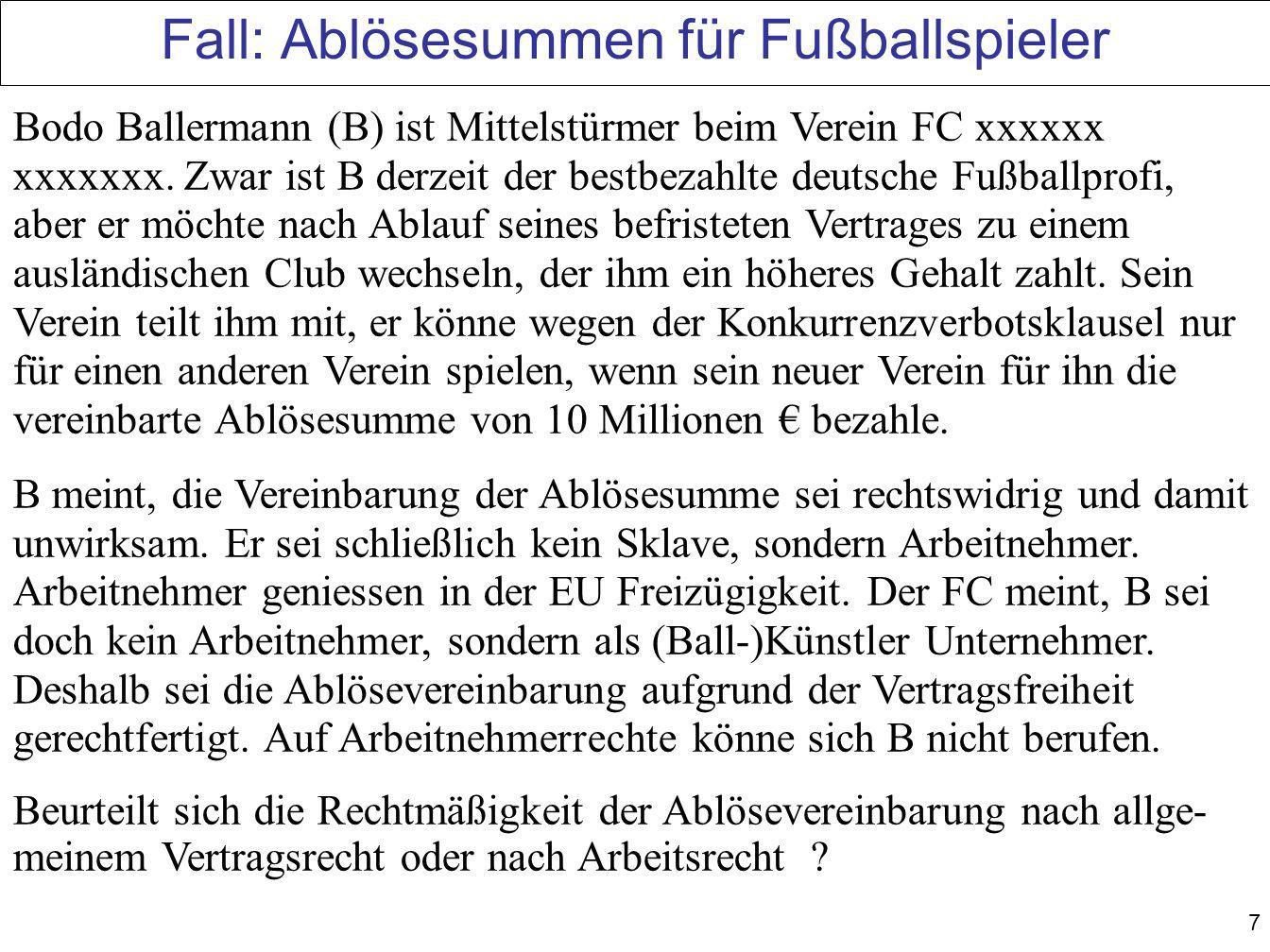 Fall: Ablösesummen für Fußballspieler