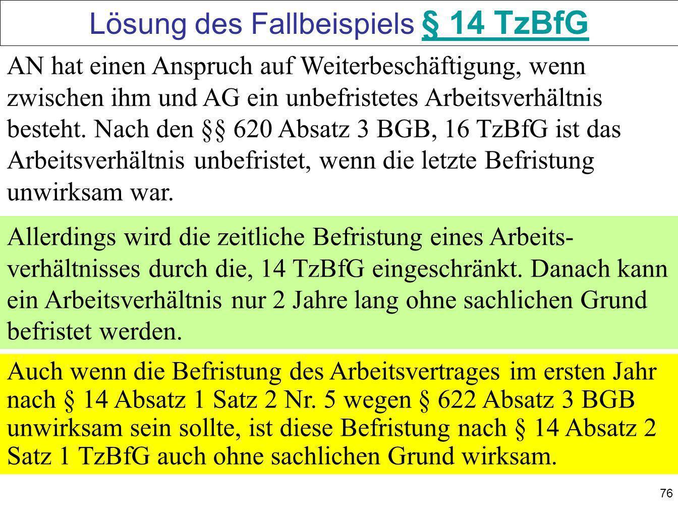 Lösung des Fallbeispiels § 14 TzBfG