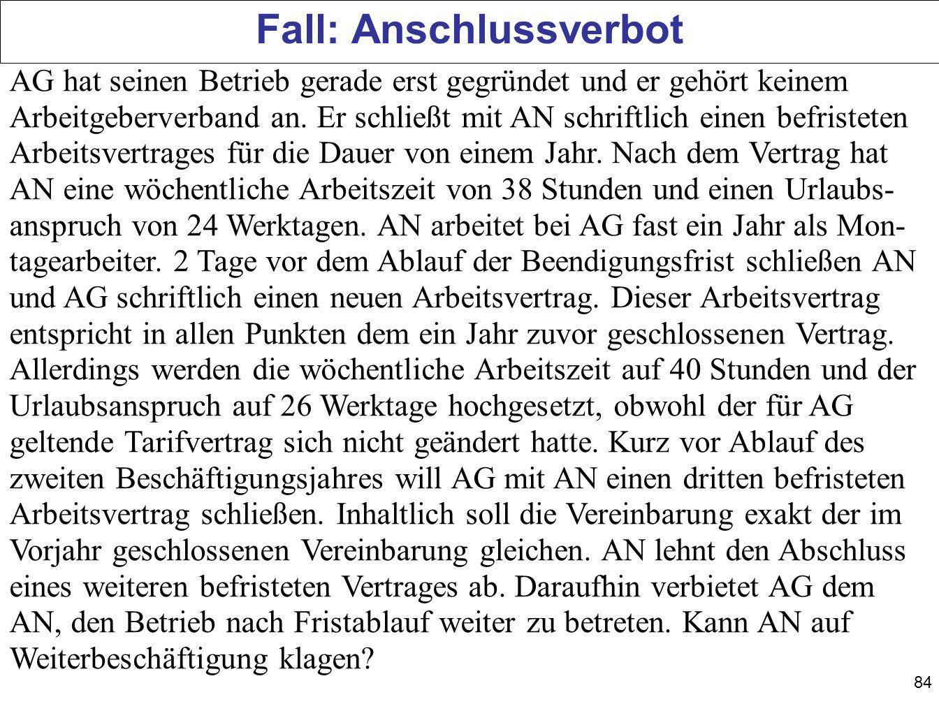 Fall: Anschlussverbot