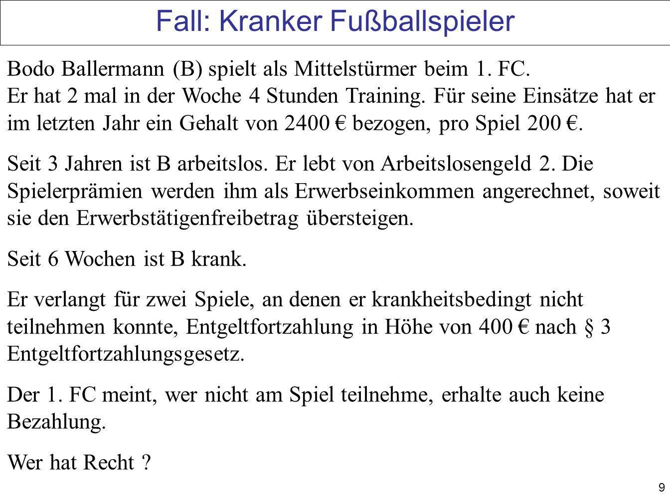 Fall: Kranker Fußballspieler