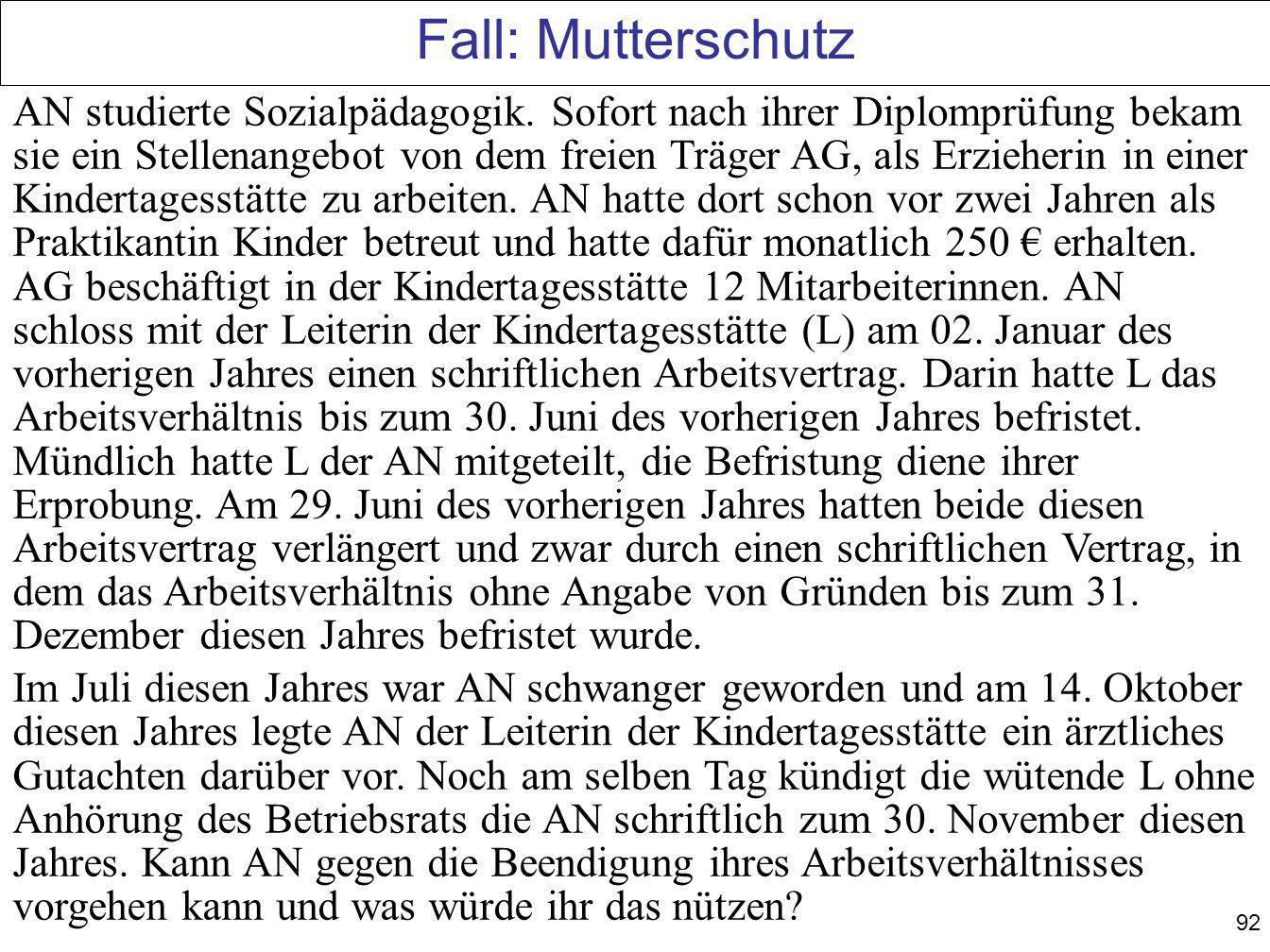 Fall: Mutterschutz