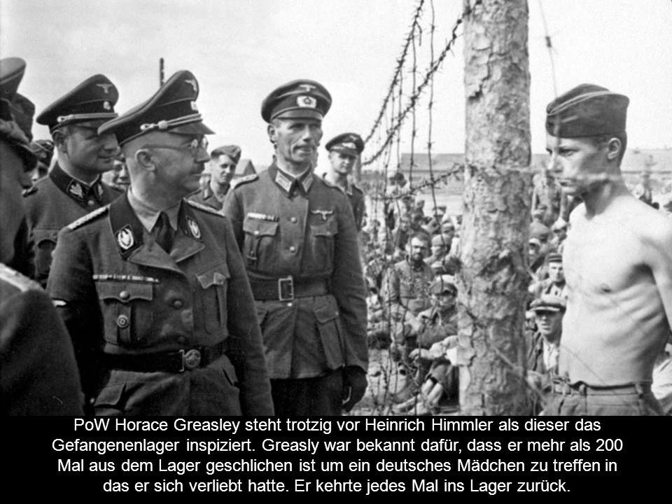 PoW Horace Greasley steht trotzig vor Heinrich Himmler als dieser das Gefangenenlager inspiziert.