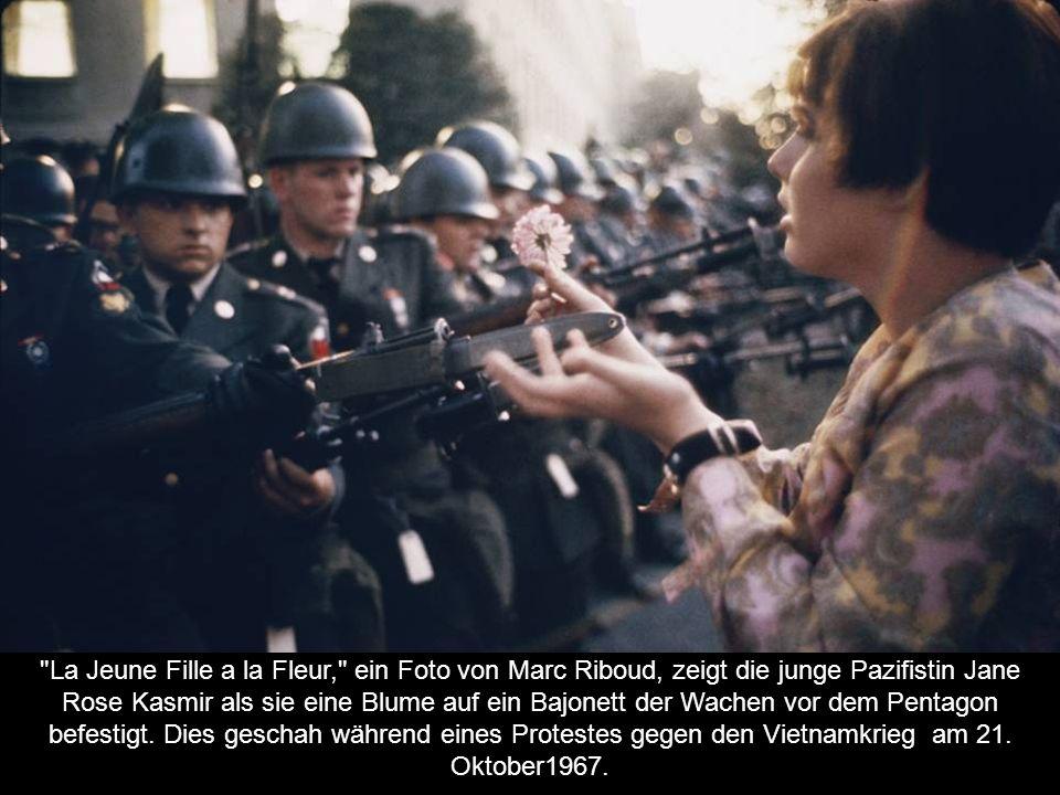 La Jeune Fille a la Fleur, ein Foto von Marc Riboud, zeigt die junge Pazifistin Jane Rose Kasmir als sie eine Blume auf ein Bajonett der Wachen vor dem Pentagon befestigt.
