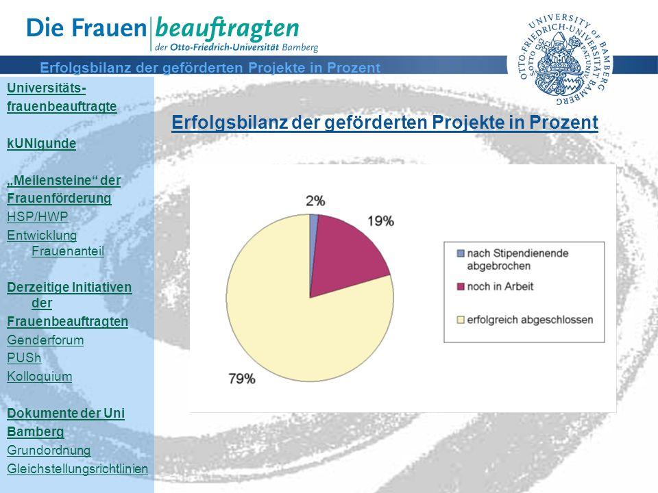 Erfolgsbilanz der geförderten Projekte in Prozent
