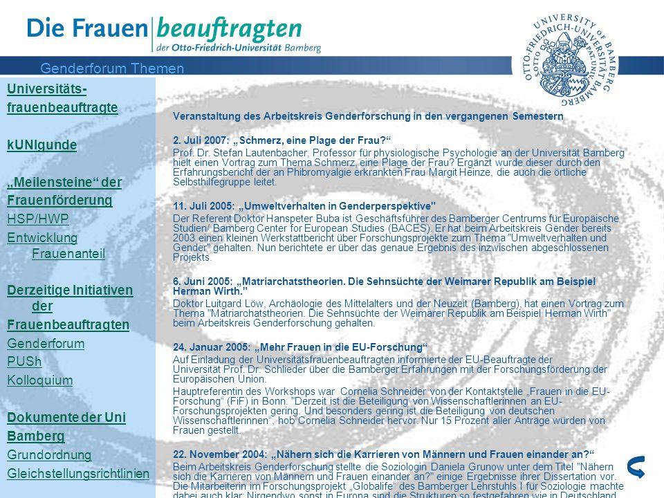 Genderforum Themen Universitäts- frauenbeauftragte kUNIgunde
