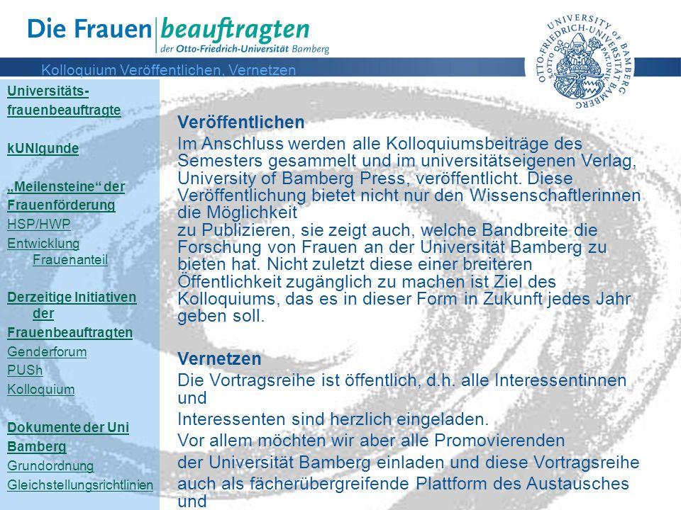 Kolloquium Veröffentlichen, Vernetzen
