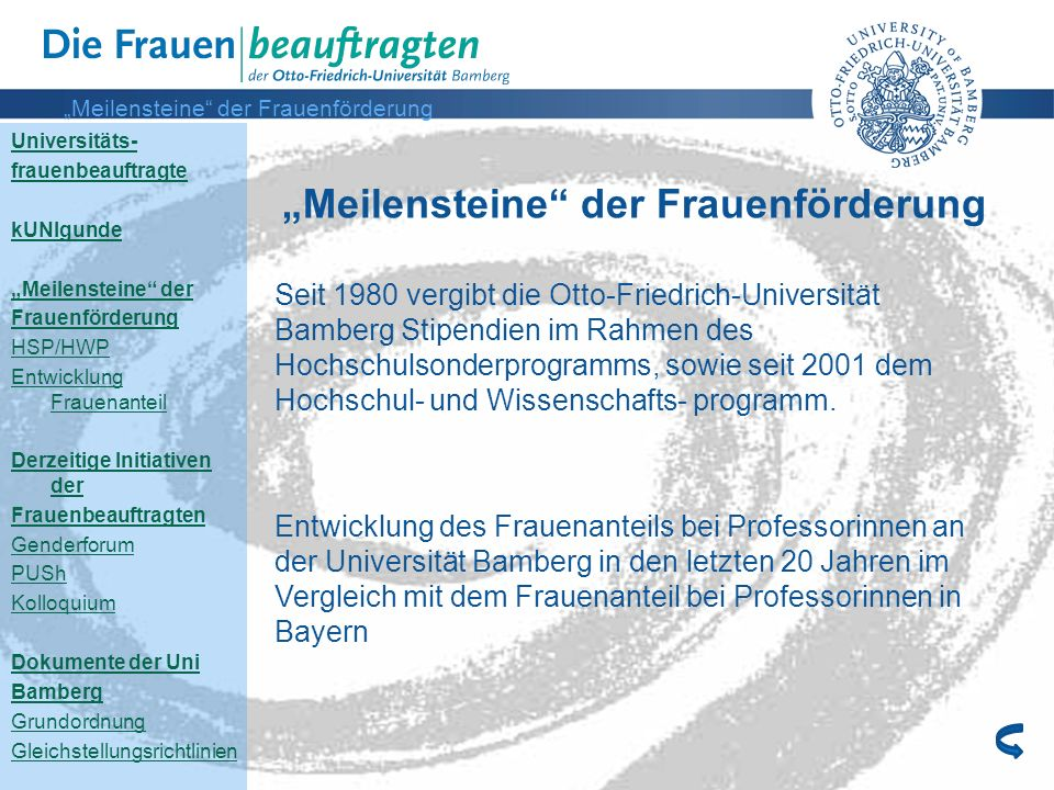 """""""Meilensteine der Frauenförderung"""