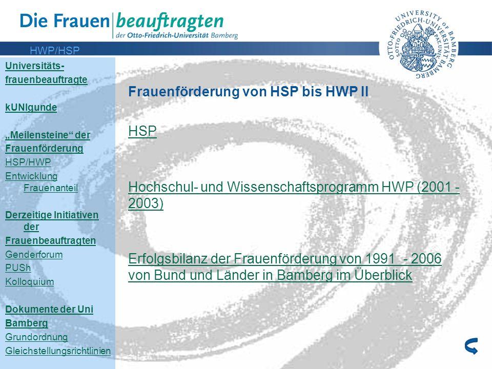 Frauenförderung von HSP bis HWP II HSP