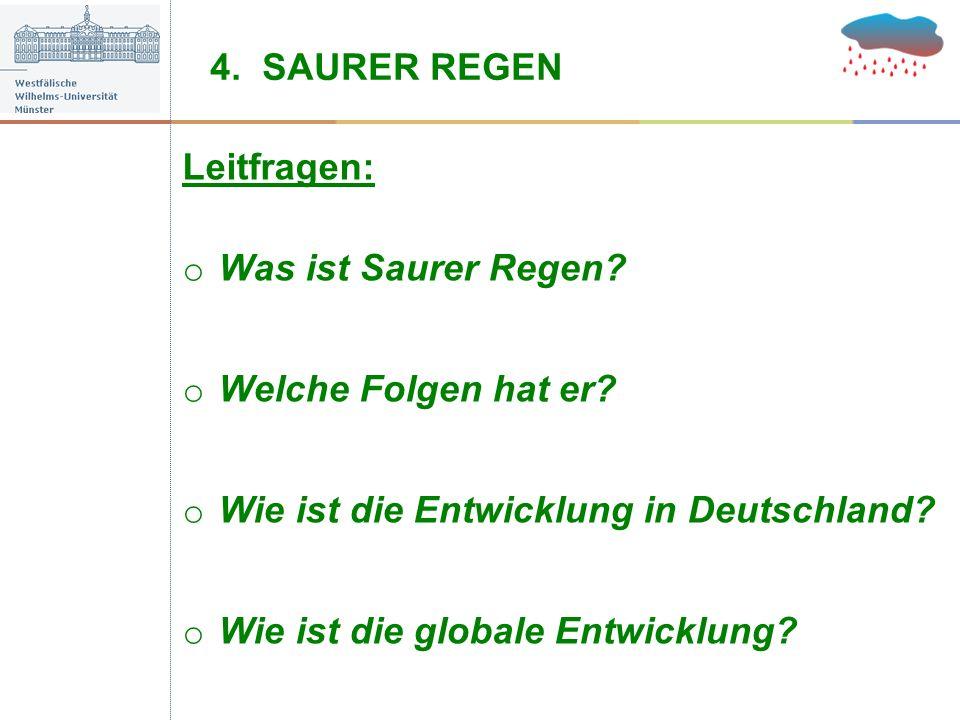 4. SAURER REGEN Leitfragen: Was ist Saurer Regen Welche Folgen hat er Wie ist die Entwicklung in Deutschland