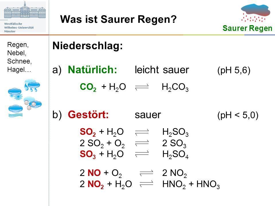 a) Natürlich: leicht sauer (pH 5,6) CO2 + H2O H2CO3
