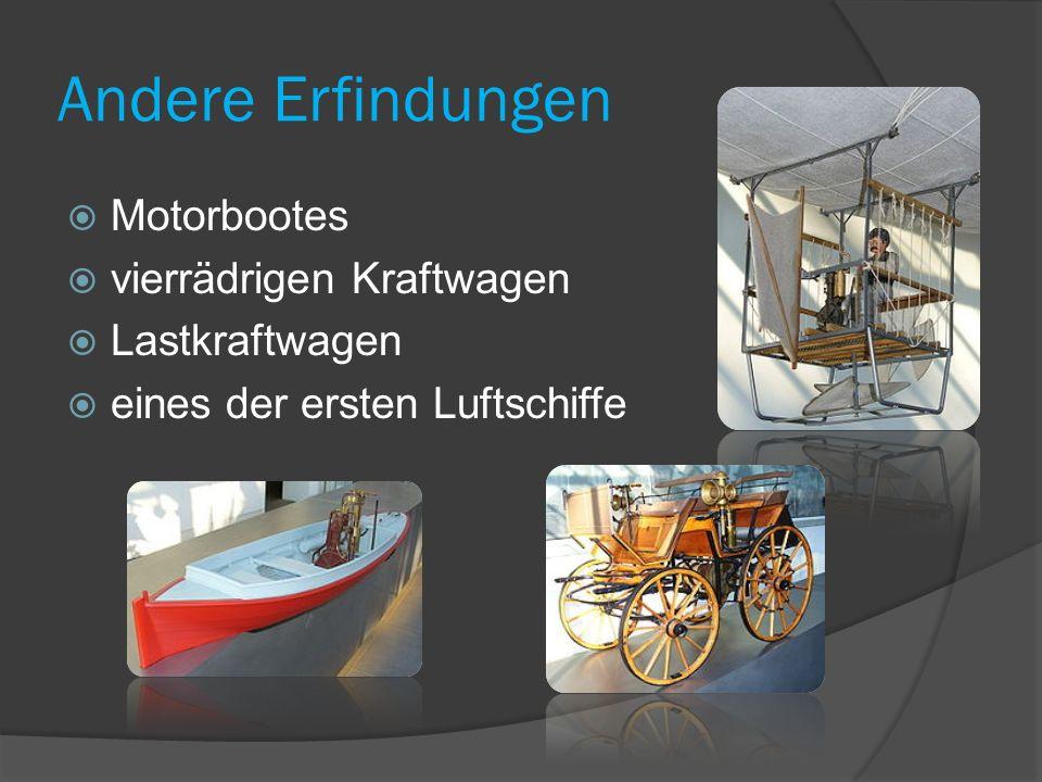 Andere Erfindungen Motorbootes vierrädrigen Kraftwagen Lastkraftwagen