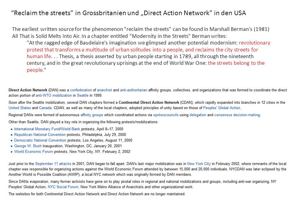 "Reclaim the streets in Grossbritanien und ""Direct Action Network in den USA"