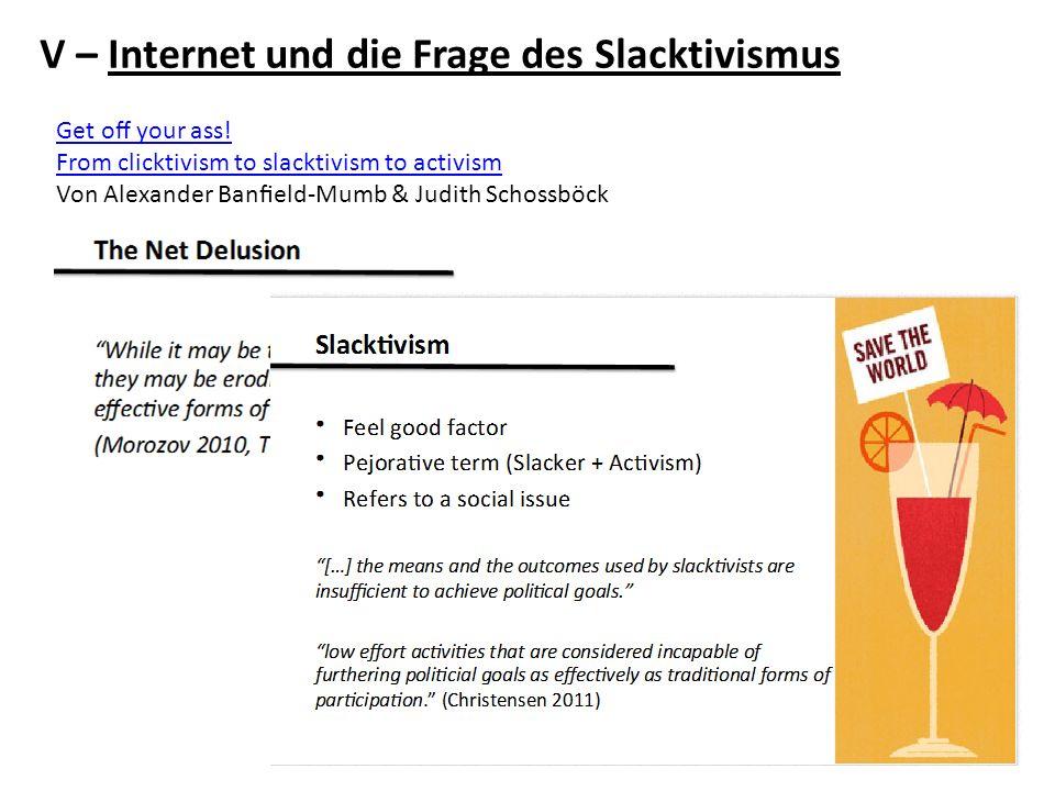 V – Internet und die Frage des Slacktivismus
