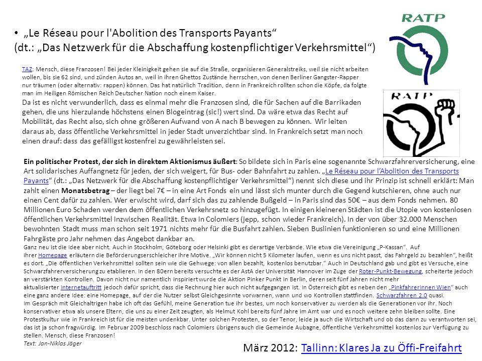 """""""Le Réseau pour l Abolition des Transports Payants"""