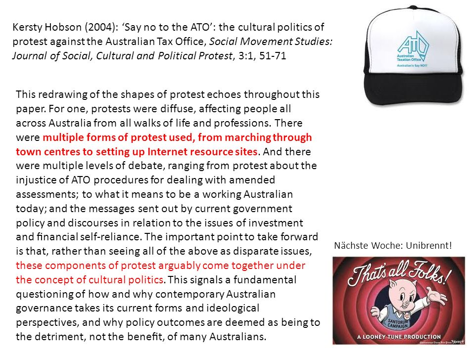 Kersty Hobson (2004): 'Say no to the ATO': the cultural politics of protest against the Australian Tax Office, Social Movement Studies: Journal of Social, Cultural and Political Protest, 3:1, 51-71