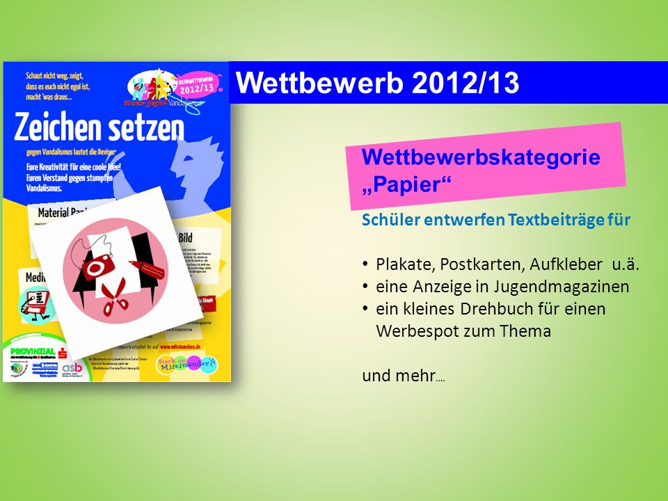 """Wettbewerb 2012/13 Wettbewerbskategorie """"Papier"""