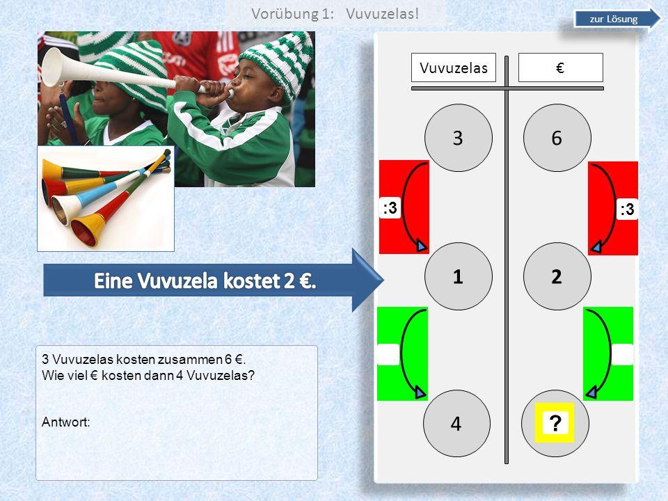 3 6 1 2 Eine Vuvuzela kostet 2 €. 4 Vorübung 1: Vuvuzelas! Vuvuzelas