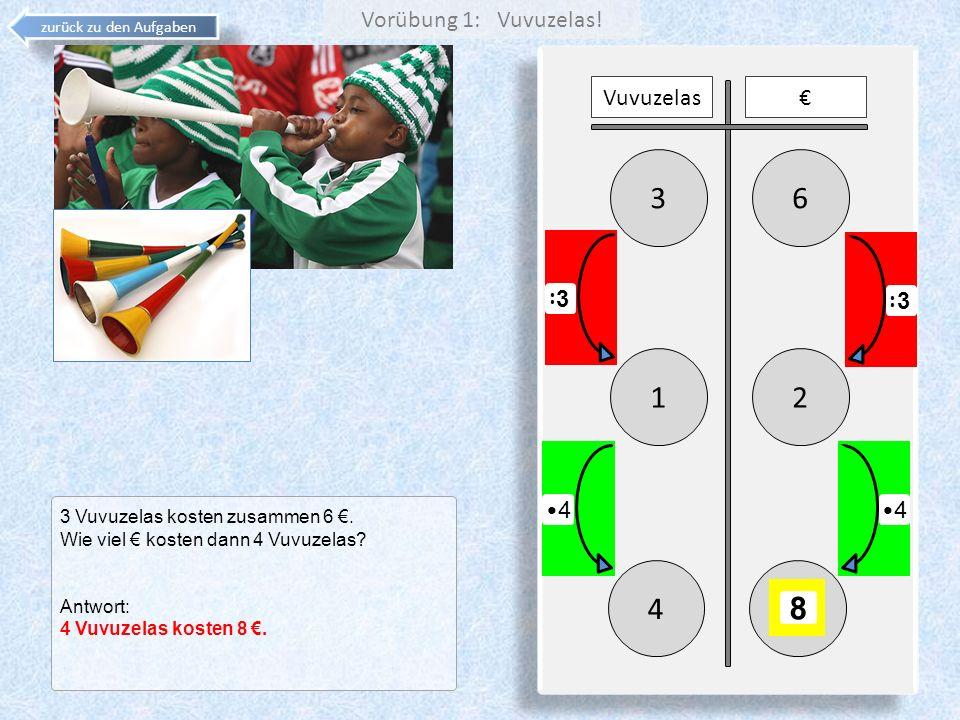 3 6 1 2 4 8 Vorübung 1: Vuvuzelas! Vuvuzelas € 3 3 : : •4 •4