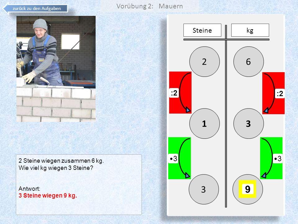 2 6 1 3 3 9 Vorübung 2: Mauern Steine kg :2 :2 •3 •3