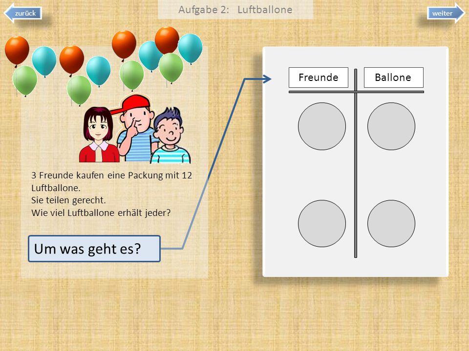Um was geht es Aufgabe 2: Luftballone Freunde Ballone