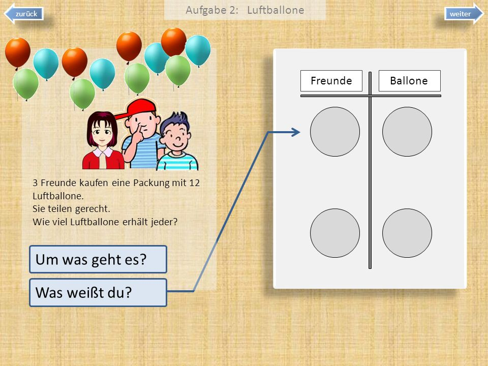 Um was geht es Was weißt du Aufgabe 2: Luftballone Freunde Ballone