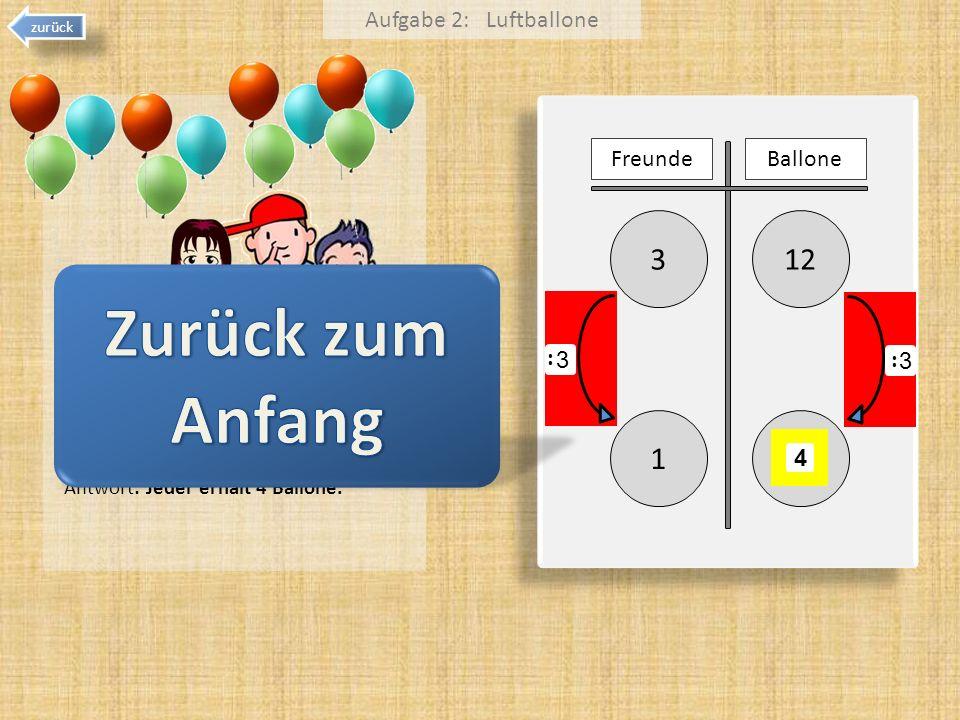 Zurück zum Anfang 3 12 1 Aufgabe 2: Luftballone Freunde Ballone 3 3 :