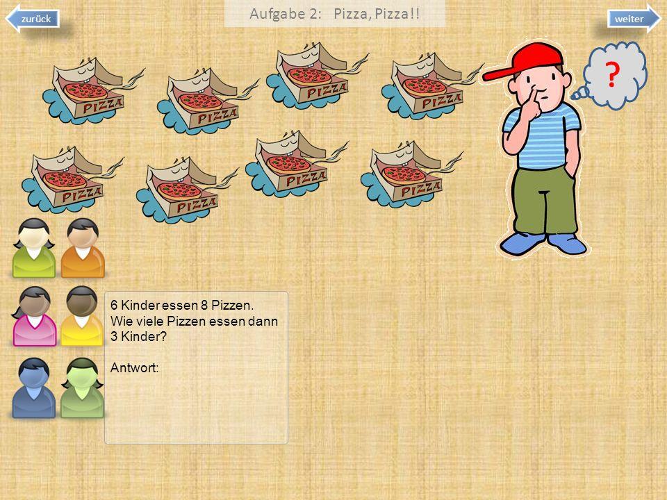Aufgabe 2: Pizza, Pizza!! 6 Kinder essen 8 Pizzen.