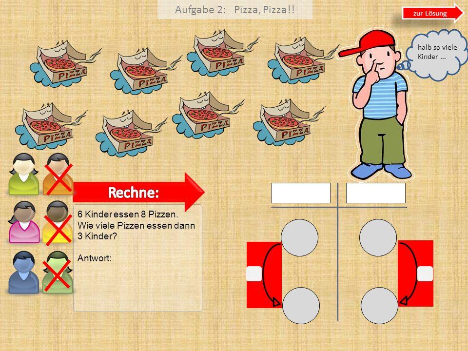 Rechne: Aufgabe 2: Pizza, Pizza!! 6 Kinder essen 8 Pizzen.
