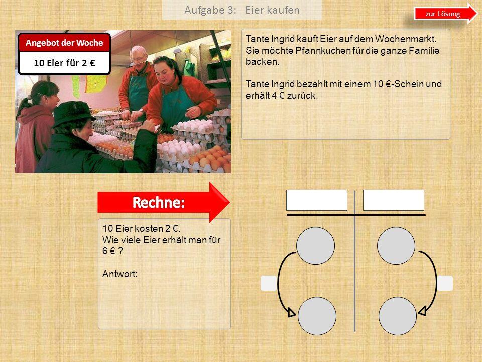 Rechne: Aufgabe 3: Eier kaufen 10 Eier für 2 €