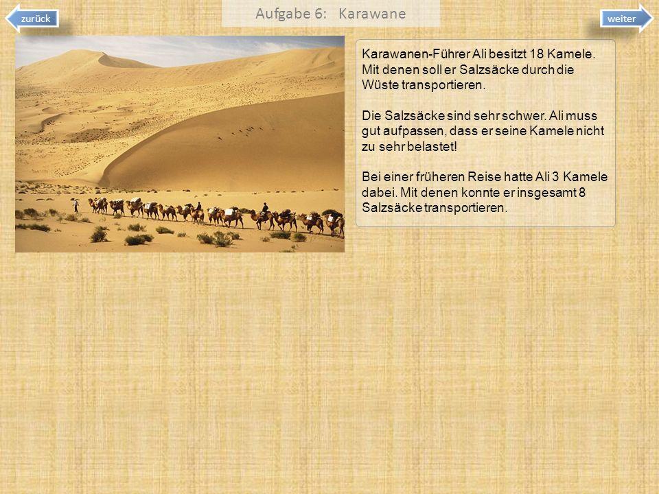 Aufgabe 6: Karawanezurück. weiter. Karawanen-Führer Ali besitzt 18 Kamele. Mit denen soll er Salzsäcke durch die Wüste transportieren.