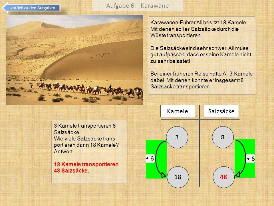 Aufgabe 6: Karawane 8 3 Kamele Salzsäcke 18 48 • 6