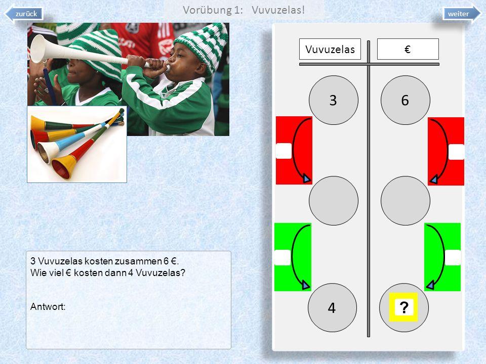 3 6 4 Vorübung 1: Vuvuzelas! Vuvuzelas €