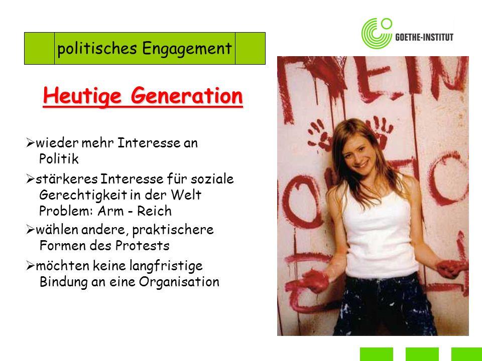 Heutige Generation politisches Engagement