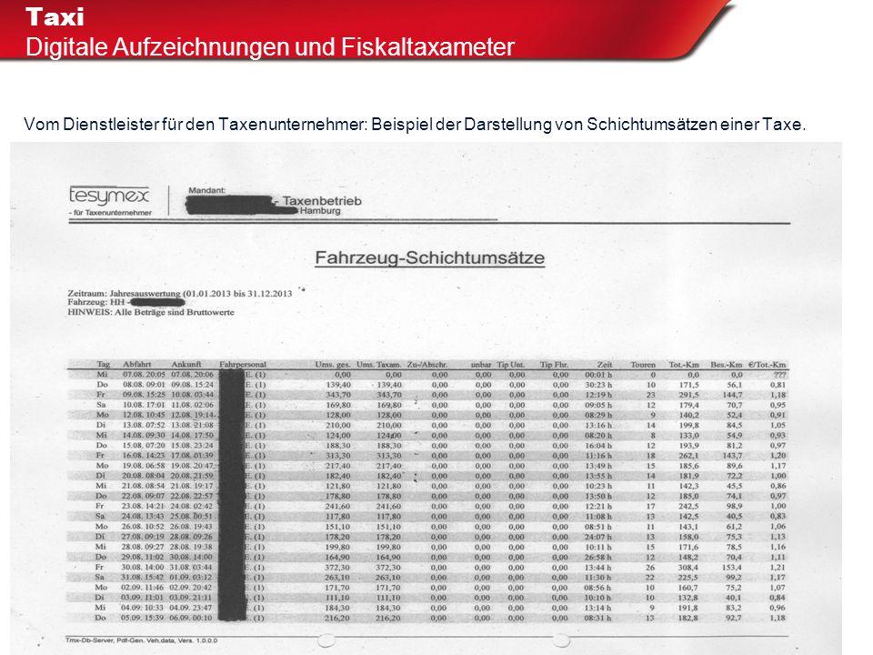 Taxi Digitale Aufzeichnungen und Fiskaltaxameter