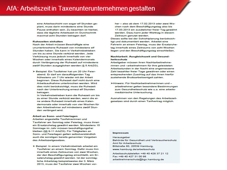 AfA: Arbeitszeit in Taxenunterunternehmen gestalten