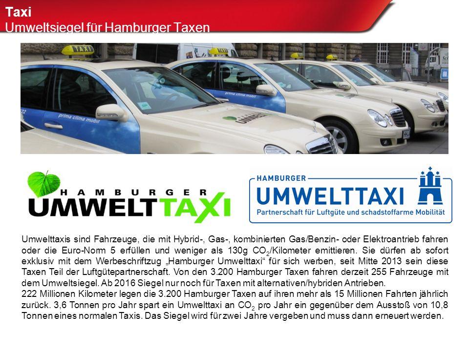 Taxi Umweltsiegel für Hamburger Taxen